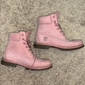 Pastel pink Timberlands only worn once!!!